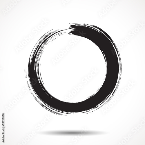 Brush painted black ink circle