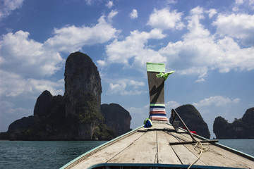 long tail boat heading into Railay, Thailand
