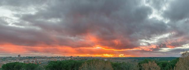 Sunset sky in Madrid