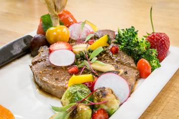 Sirloin Steak with beautiful decorate dish