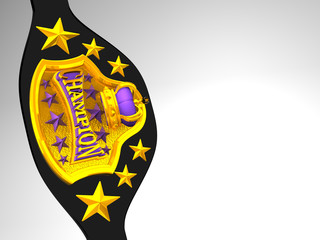 Closeup Of Champion Belt On White Text Space