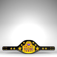 Champion Belt On White Text Space