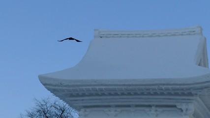 大きな雪像からカラスが飛び立つハイスピード動画