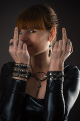 woman showing middle fingers