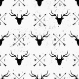 Deer Head and Arrows Seamless Pattern