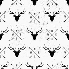 Deer Head and Arrows Seamless Pattern