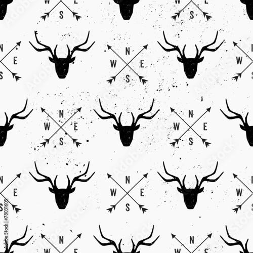 Plexiglas Hipster Hert Deer Head and Arrows Seamless Pattern