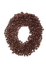 Roasted coffee beans placed in the shape of number zero