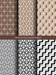 Brown And Gray Seamless Pattern.