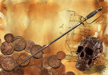 Pirate theme with sword, coins and skull, digital collage