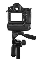 DSLR camera with blank screen on tripod