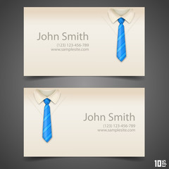 Shirt and tie vector business card