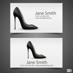 Women's shoe vector business card
