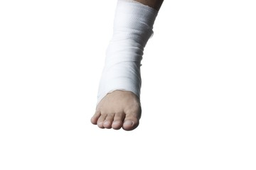 injured foot with bandage