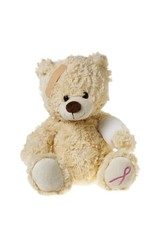 injured teddy bear with bandages and aids symbol