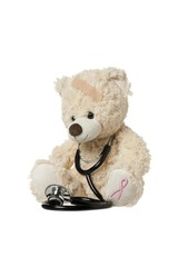 injured teddy bear with aids symbol and stethoscope