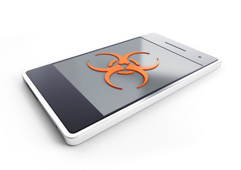 smartphone infected with a virus