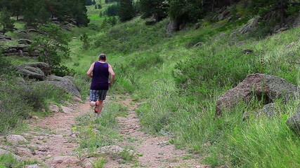 Man Jogging On The Mountain Valley