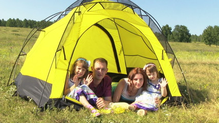 Happy Family Rest In The Yellow Tent