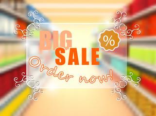 Big sale in supermarket, concept poster