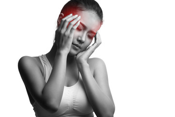 Young woman with headache,isolated on white with clipping path