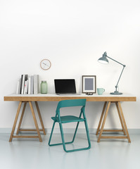 Elegant home office interior with green chair