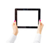 Woman holding tablet computer horizontally - 78036611