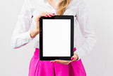 Woman holding ipad with empty white screen vertically