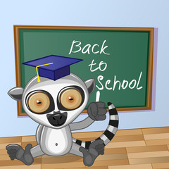 Cartoon Lemur wrote in classroom