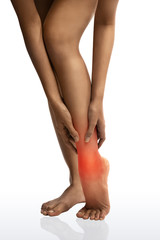 Acute pain in a woman ankle with clipping path