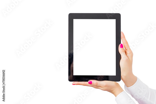 Woman holding ipad with empty white screen - 78036642
