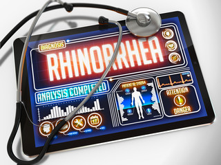 Rhinorrhea on the Display of Medical Tablet.