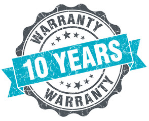 10 years warranty vintage turquoise seal isolated on white