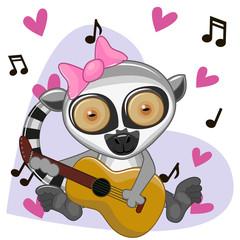 Lemur with guitar