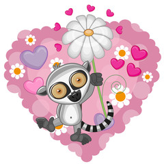 Lemur with hearts and flower