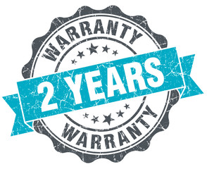 2 years warranty vintage turquoise seal isolated on white