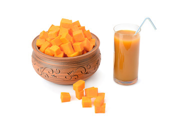 juice in glass and pumpkin
