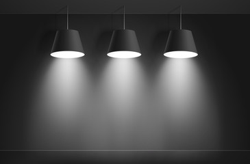 Black ceiling lamps. Vector