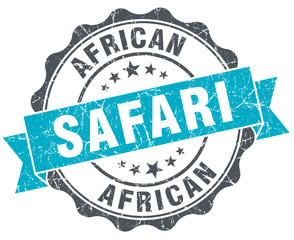 african safari vintage turquoise seal isolated on white