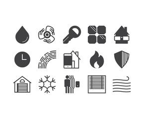 Set of thin mobile icons for smarthome, house control and automa