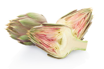 Artichokes and half isolated on white, clipping path