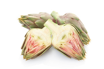 Artichokes group and section on white, clipping path