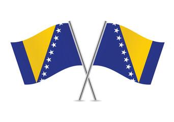 Bosnia and Herzegovina flags. Vector illustration.