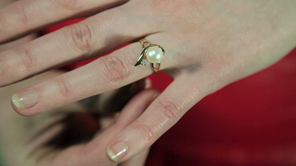 the girl dress ring closeup