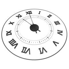 An isolated clock with Roman numerals. Time - eleven o'clock