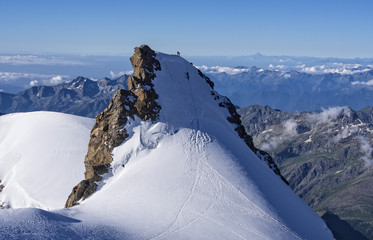Climbers on Corno Nero peak, Monte Rosa, Alps, Italy