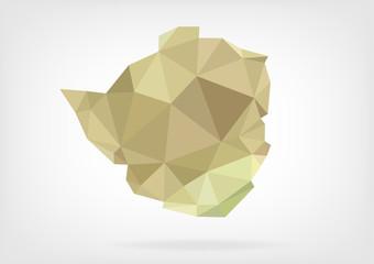 Low Poly map of Zimbabwe