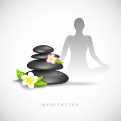 meditation steine und blüten