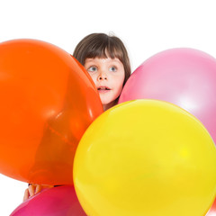 Portrait of preschooler girl with air baloons