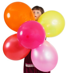 Charming child with air baloons